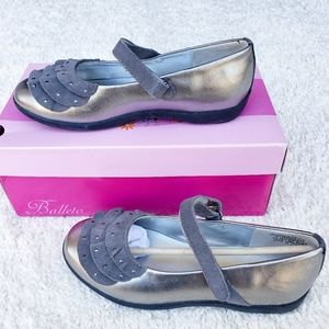 Balleto Victoria Pewter Leather Girls Dress Shoes